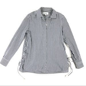 10 Crosby Derek Lam Blue Striped Laced Sides